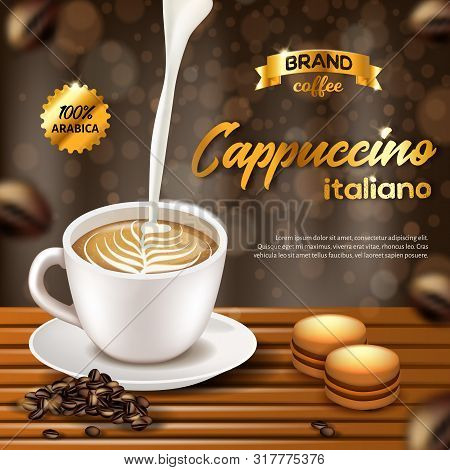 Cappuccino Italiano Arabica Coffee Banner, White Porcelain Cup With Black Beverage And Pouring Cream