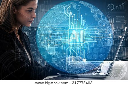 Ai Learning And Artificial Intelligence Concept..