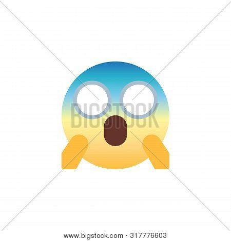 Fearful Face Emoticon Flat Icon, Scared Emoji Vector Sign, Screaming In Fear Colorful Pictogram Isol