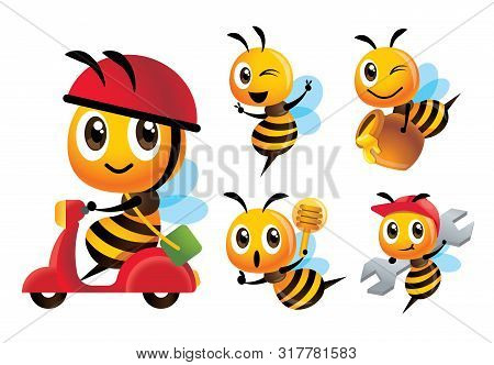 Cartoon Cute Bee Vector Mascot Set. Cartoon Cute Bee Rides Scooter Delivery, Bee Holds A Honey Dippe
