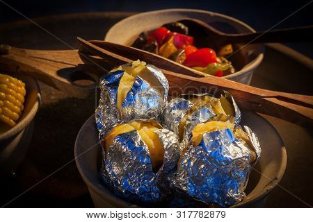 Steamed Potatoes In Bowl  On Buffet Line.