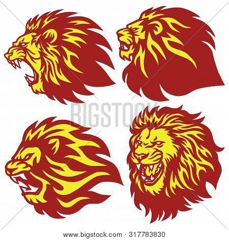 Fire Lion Head Esport Logo Set Premium Collection Vector Mascot poster