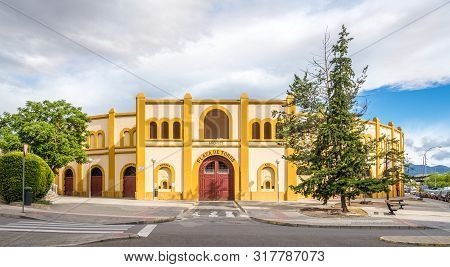Huesca,spain - May 19,2019 - View At The Bullring Building In The Streets Of Huesca. The City Huesca