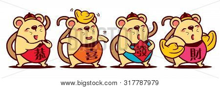 Cartoon Cute Rat Set With Gong Xi Fa Cai Words On Colourful Chinese Dodou Costume. Cute Rat With Gol