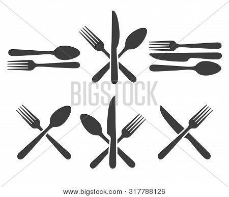 Cutlery Icon Set. Kitchen Cutlery Icons With Fork, Spoon And Knife Image, Metal Dining Facilities Fo