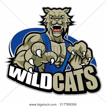 Strong Fierce Grey Muscular Wildcat Mascot For Sport Theme - Vector
