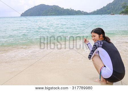 Surin Islands, Phang Nga Province, Thailand - May 2019 : Happy Girl In Koh Surin Islands Is An Archi