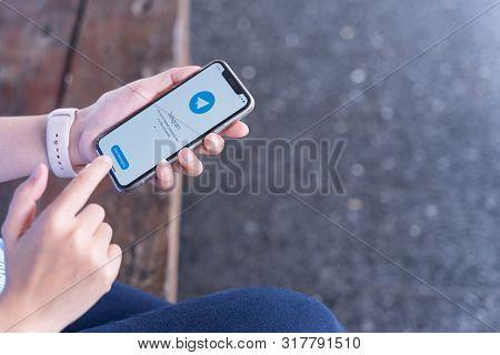Chiang Mai, Thailand - Jul.27,2019: Telegram Application Icon On Apple Iphone Xs Screen Close-up. Te