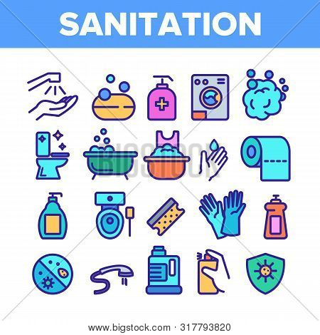 Color Sanitation Elements Icons Set Vector Thin Line. Washing Hand And Clean, Soap Protection And Ba