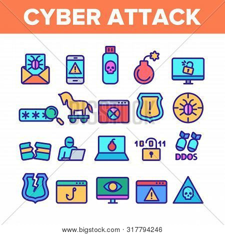 Color Cyber Attack Elements Icons Set Vector Thin Line. Virus In Email Message And Malware, Infected