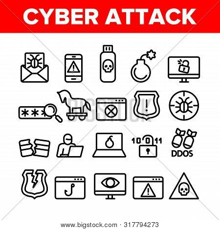 Collection Cyber Attack Elements Icons Set Vector Thin Line. Virus In Email Message And Malware, Infected Flash Drive And Smartphone Ddos Attack Linear Pictograms. Monochrome Contour Illustrations poster