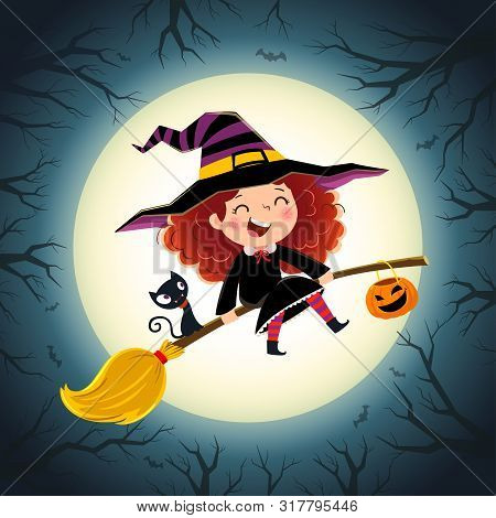 Halloween Background With Cute Little Girl Witch And Kitten Flying On A Broom.