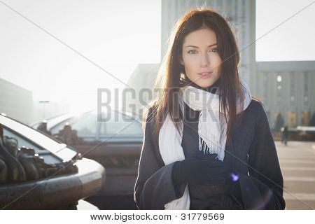 Young Woman In City