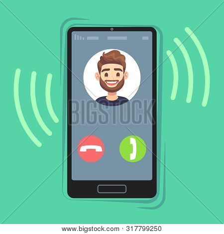 Incoming Call On Mobile Phone. Friend Photo On Ringing Phones Screen. Calling Display With Contact I