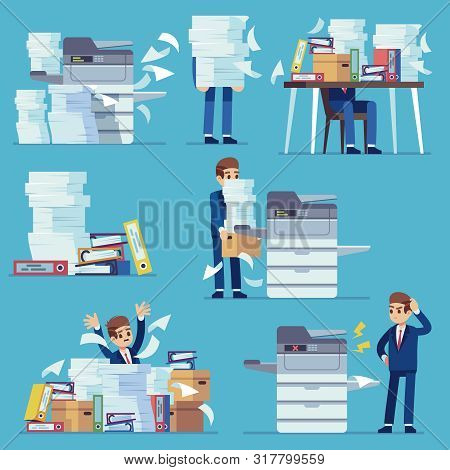 Office Documents Copier. Printer Printing Office Papers, Man With Broken Photocopier. Lot Of Paperwo
