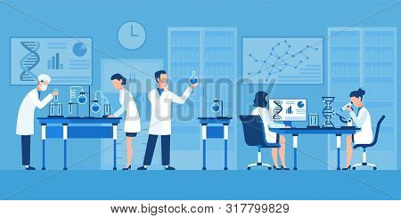 Scientists Characters. Chemists In Pharmaceutical Lab, Research With Medical Equipment. Clinical Tes