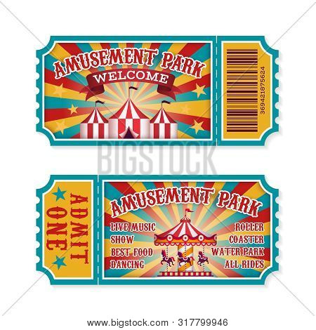 Amusement Park Ticket. Family Park Attractions Admission Tickets, Fun Festival Vintage Event Receipt