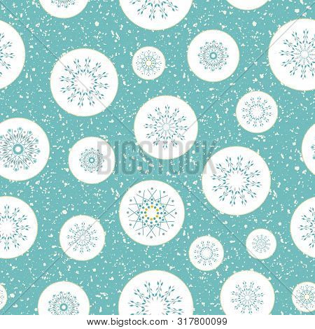 Teal, Silver Snowflakes In Gold Rimmed Circles. Seamless Winter Vector Pattern On White Terrazzo Bac