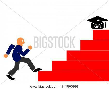 Man taking the first step to pursue his study