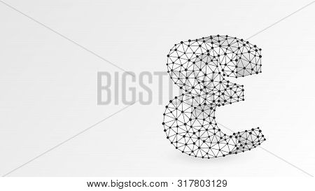 Epsilon, the letter of a Greek alphabet. Greek numerals, mathematical number five concept. Abstract, digital, wireframe, low poly mesh, vector white origami 3d illustration. Triangle, line, dot poster