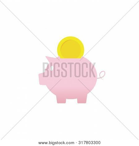 Pig Pink Piggy Bank Flat Icon Money Saving Business Icon Money Coin Logo Bank Credit Rich Price Doll