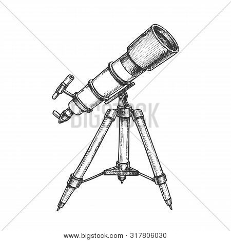 Astronomer Equipment Telescope Monochrome Vector. Standing Telescope For Explore And Observe Galaxy