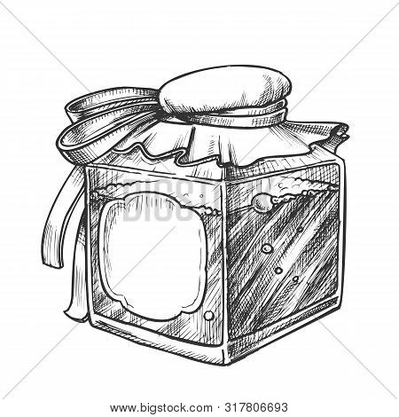 Square Bottle With Blank Label Monochrome Vector. Retro Creative Glass Bottle With Textile Cap Plant