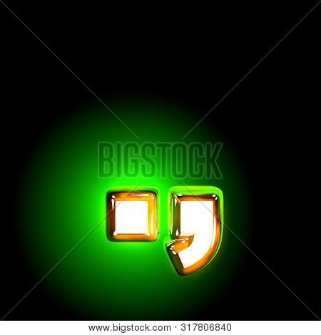 Glowing Green Period (full Stop) And Comma Of Shine Alphabet Of White And Yellow Colors Isolated On