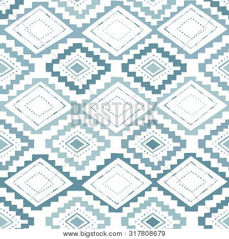 Monochrome Aqua Hand Drawn Tribal African Diamonds And Stripes Vector Seamless Pattern. Stylised Eth