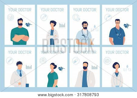 Doctor Presentation. Medical Service Information Cards Set. Online Medicine And Healthcare. Right Sp