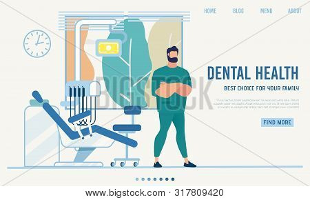 Flat Landing Page Presenting Modern Dental Cabinet. Cartoon Male Stomatologist, Dentist, Orthodontis