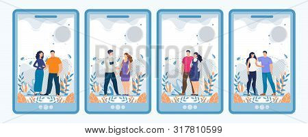 Mobile Screens Set With Pregnant Women And Men In Social Media Design. Happy Couples Hugging Talk. P