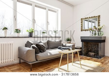 Cozy living room or den interior with fireplace and wall mirror and a comfortable sofa with cushions below sunny windows with flowerpots. 3d rendering
