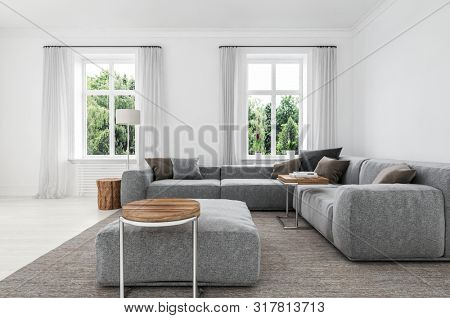 Comfortable minimalist sitting room interior with upholstered grey sofas and ottoman on a matching rug lit my two windows overlooking greenery. 3d rendering