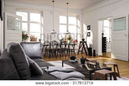 Spacious modern open plan living room with comfortable grey sofa and a dining area with small table with bentwood chairs with sunlight streaming in through two large windows. 3d rendering