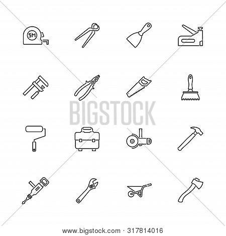Tools, Repair Tool Outline Icons Set - Black Symbol On White Background. Tools, Repair Tool Simple I
