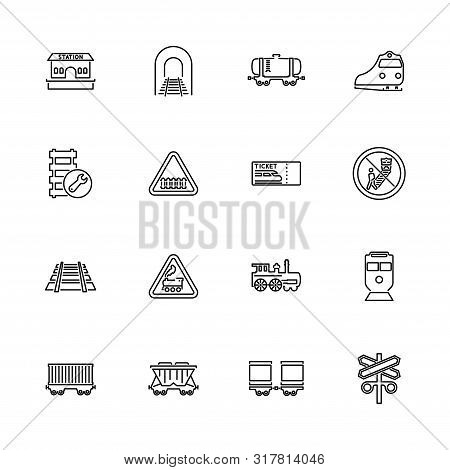 Trains, Railroad Transport Outline Icons Set - Black Symbol On White Background. Trains, Railroad Tr