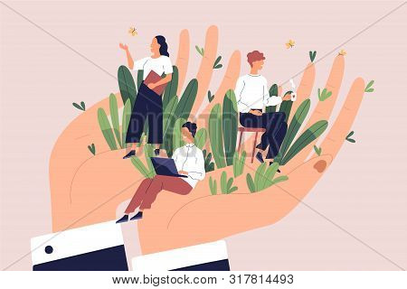 Giant Hands Holding Tiny Office Workers. Concept Of Employee Care, Wellbeing At Work Or Workplace, P