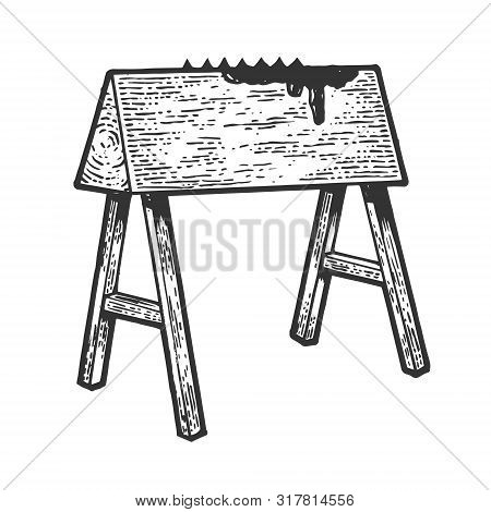 Wooden Horse Spanish Donkey Medieval Torture Device Sketch Engraving Vector Illustration. Scratch Bo