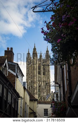 Canterbury Cathedral In Kent Seen From Street Level