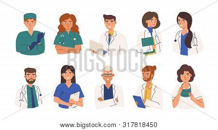 Bundle Of Friendly Doctors Wearing White Coats And Scurbs. Set Of Portraits Of Male And Female Medic