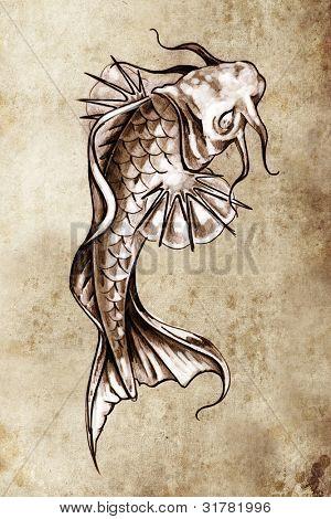 Sketch of tattoo art, japanese goldfish