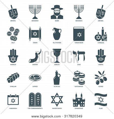 Hanukkah Jewish Holiday Icons Set. Traditional Judaism Symbols Collection: Dreidel, Torah, Menorah,