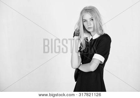 Vintage Fashion Concept. Girl Blonde Wear Elegant Black Dress. Formal Uniform Elite School College O