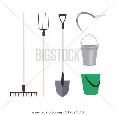 Collection of garden tools or agricultural implements isolated on white background - rake, pitchfork shovel, buckets, sickle. Set of equipment for harvest gathering. Flat cartoon vector illustration. poster