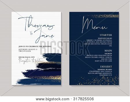 Wedding Navy Grunge Splash Invitation Cards With Luxury Gold And Indigo Marble Texture Background. A