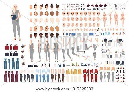 Female Secretary Animation Set Or Diy Kit. Bundle Of Womans Body Parts, Gestures, Poses, Formal Clot