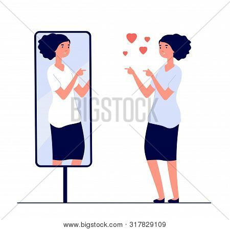 Woman At Mirror. Mirrored Happy Girl. Cartoon Reflected Beautiful Female Narcissism And Love Of Self