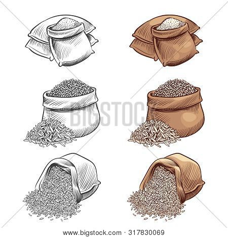 Hand Drawn Rice Sacks Vector Set. Sketch Rice Isolated On White Background. Rice In Sack, Grain Cere