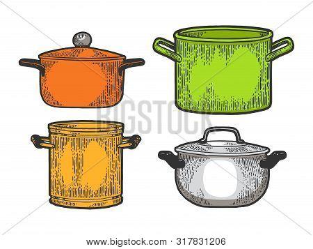 Pan Casserole Pot Set Kitchen Utensils Color Sketch Engraving Vector Illustration. Scratch Board Sty